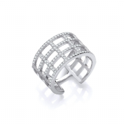 Sterling silver Cubic Zirconia open cage ring